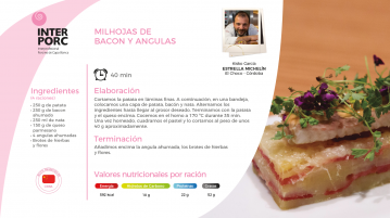 Milhojas de bacon y angulas