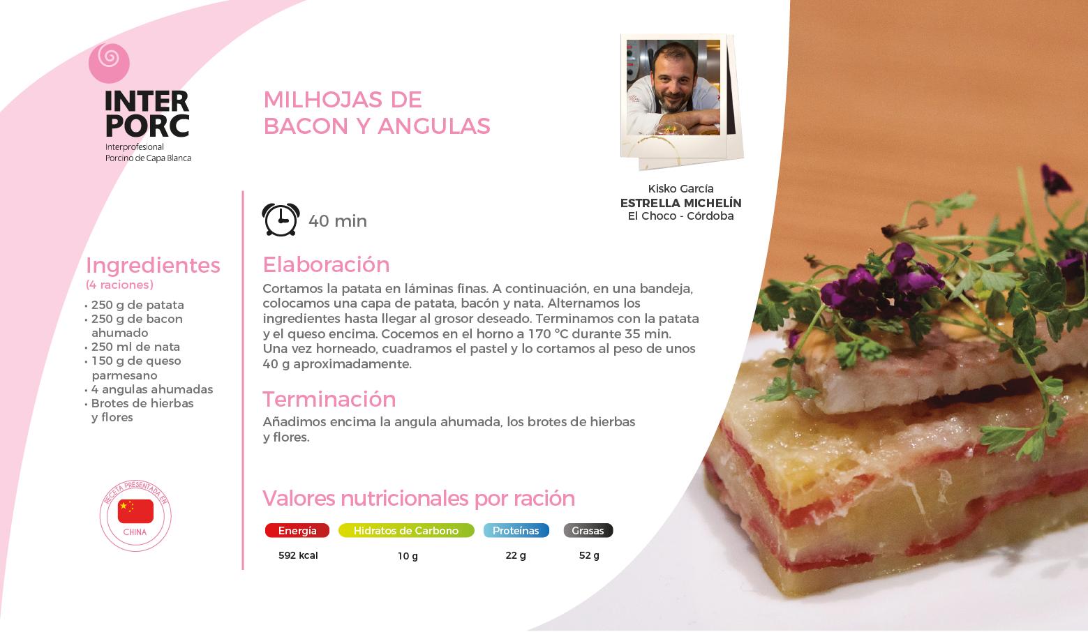 Milhojas de bacon y angulas