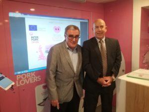 Àngel Ros, alcalde de Lleida y Alberto Herranz, director de INTERPORC
